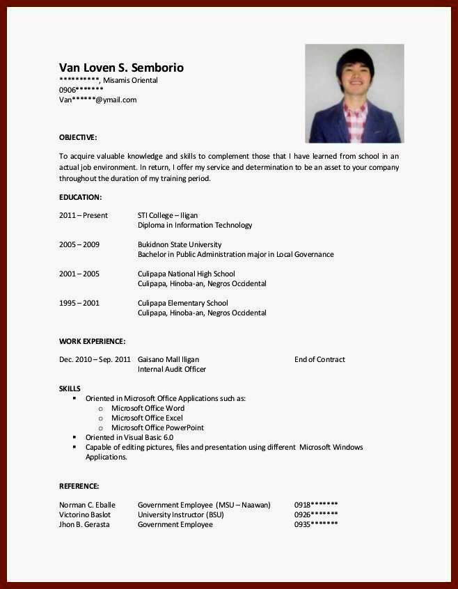 Cv Samples for Students with No Experience Pdf