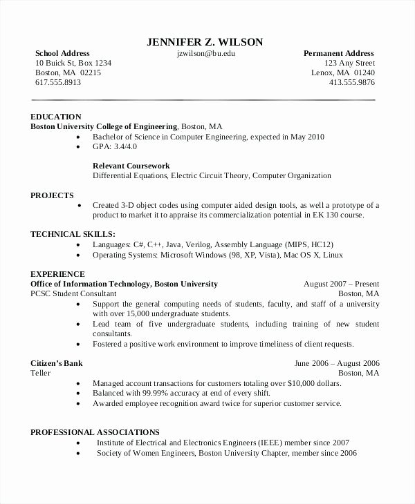 Cv Template Puter Science Student Resume Unique
