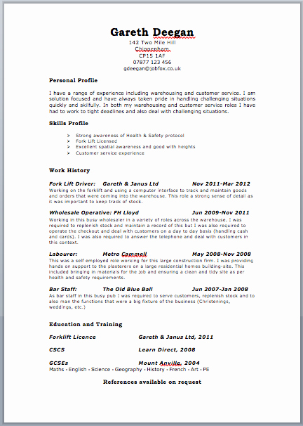 Cv Template Resume Cv Example Template