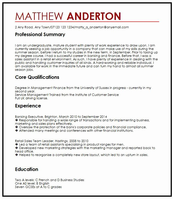 Cv Writing for Part Time Job