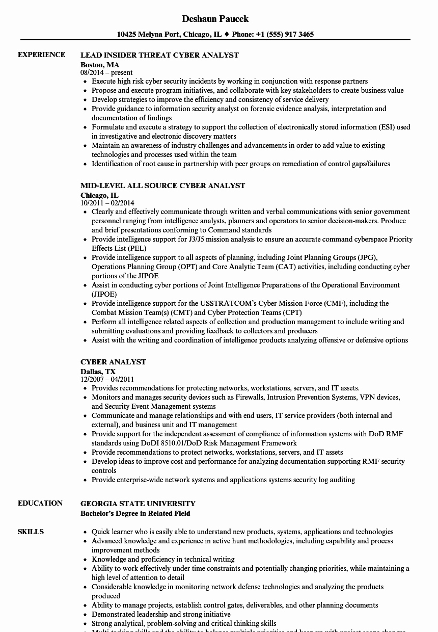 Cyber Analyst Resume Samples
