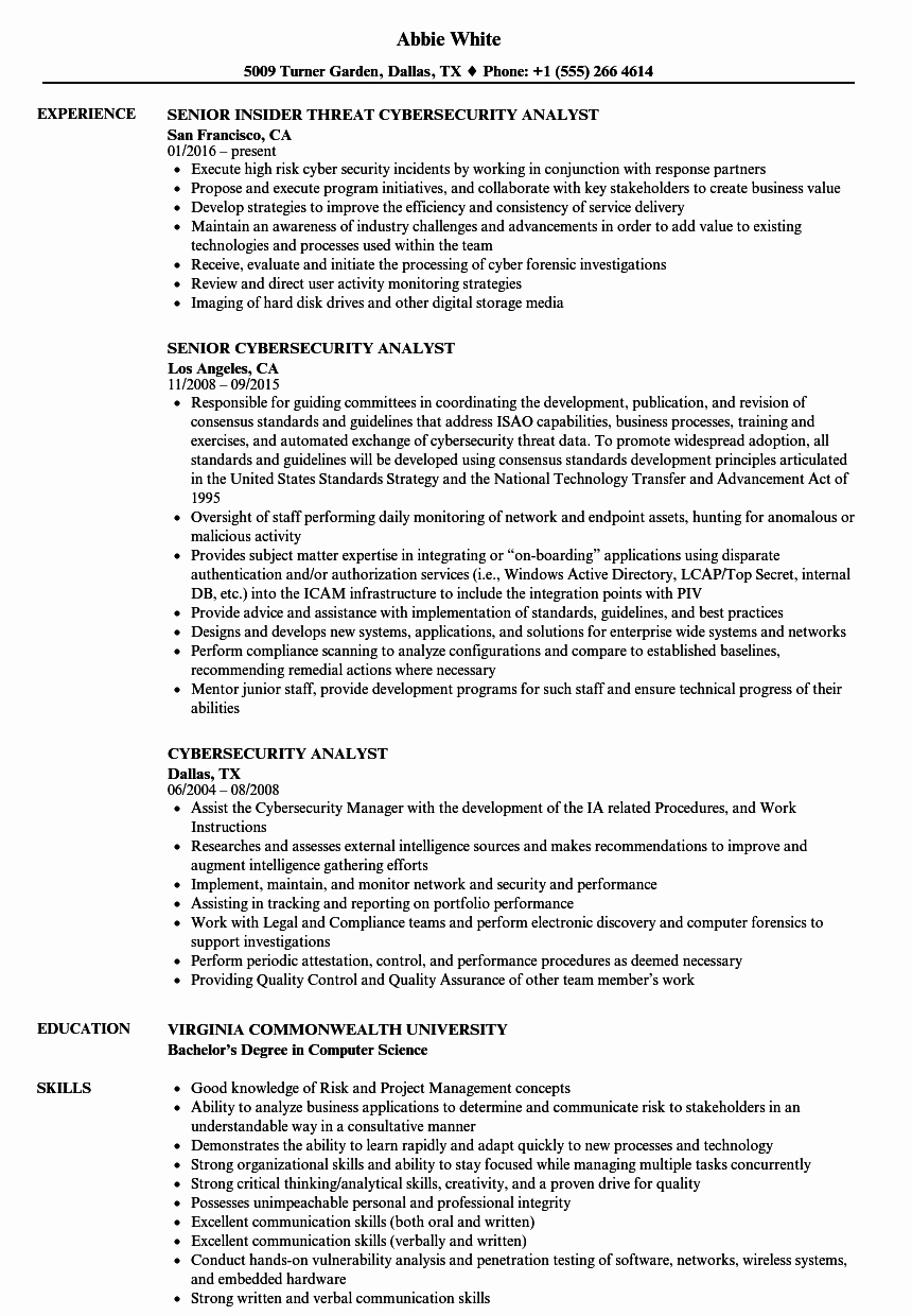 Cyber Security Analyst Resume Cyber Security Analyst