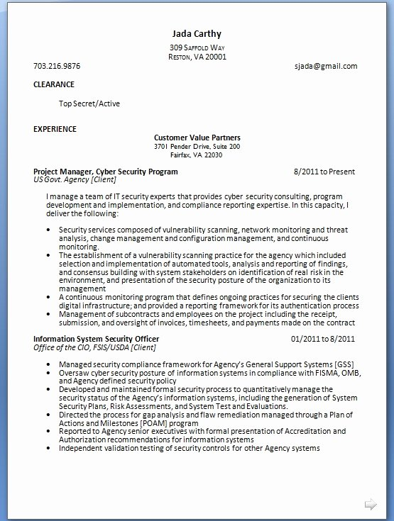 Cyber Security Resume format In Word Free Download