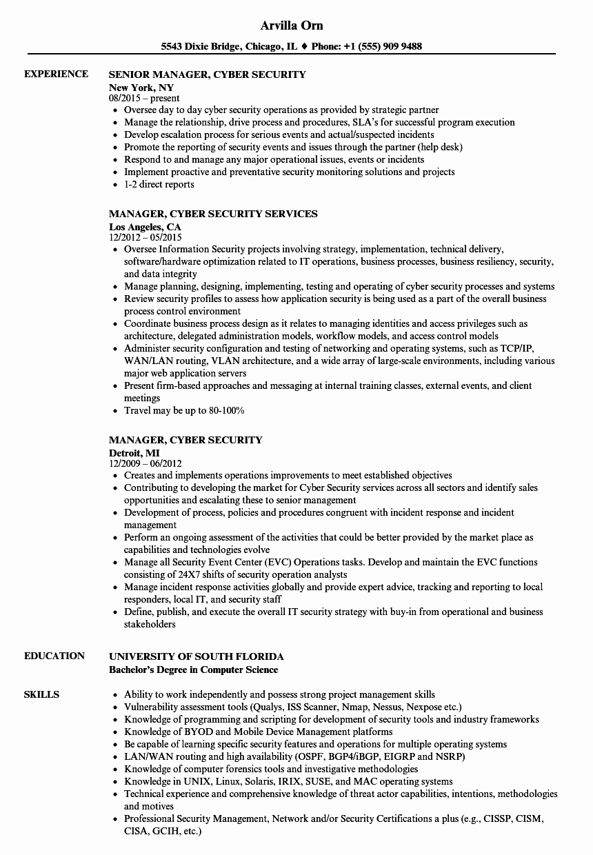 Cyber Security Resume Tjfs Journal