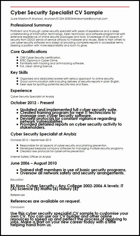 Cyber Security Specialist Cv Sample