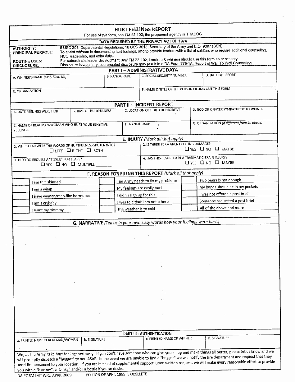 Da form Imt Wf1 2009 Hurt Feelings Report Printable Pdf