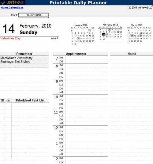 Daily Calendar Excel