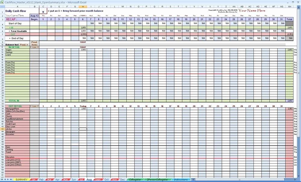 Daily Cash Flow Spreadsheet