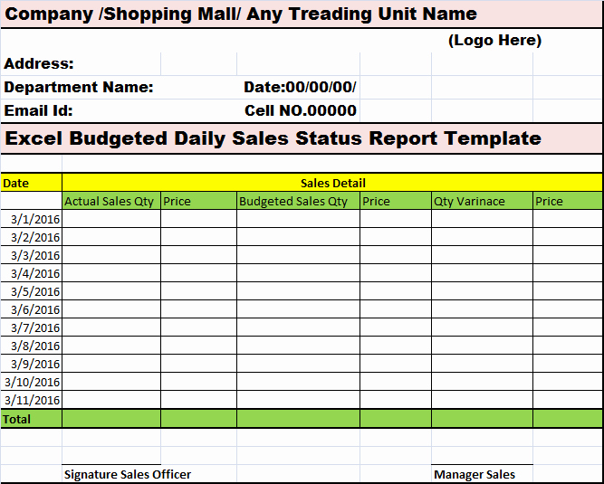Daily Expense Report Excel Template 10 Daily Report