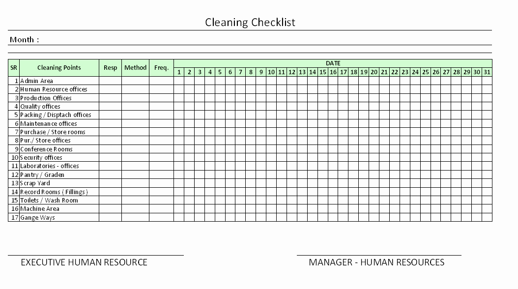 Daily Fice Cleaning Checklist Excel