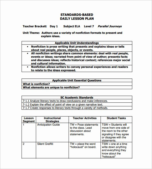 Daily Lesson Plan Template 13 Free Sample Example