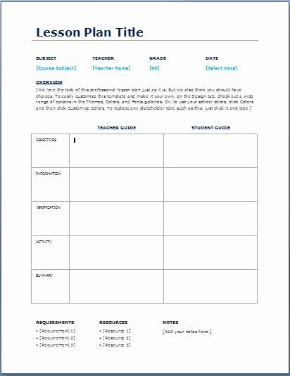 Daily Lesson Plan Template Templates Data