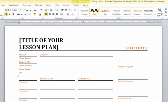 Daily Lesson Planner Template for Word