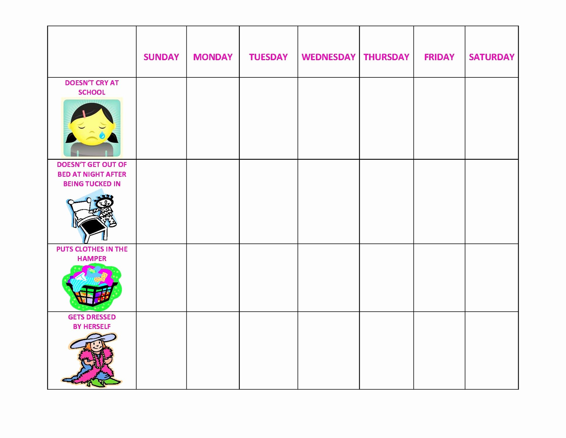 Daily Printable Behavior Charts for Home Free