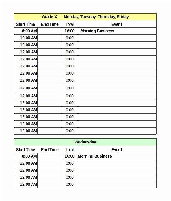 Daily Schedule Template Pdf