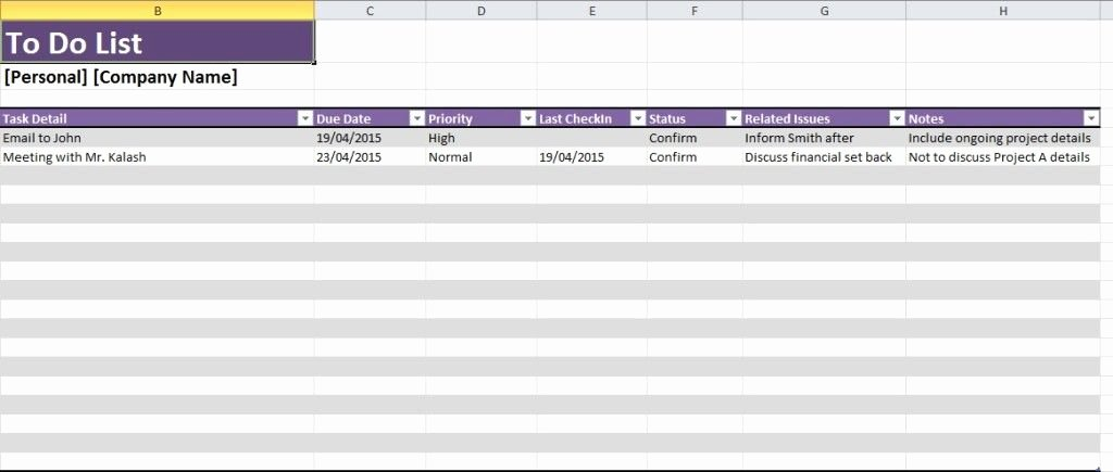 Daily Task List Template Excel Spreadsheet