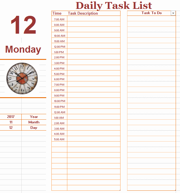 Daily to Do Task List Template Ms Fice Documents
