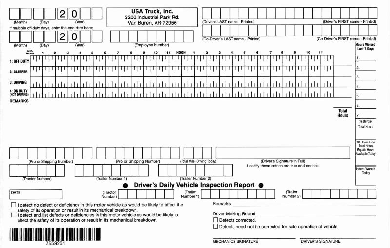 Daily Truck Driver Log Book Template Excel
