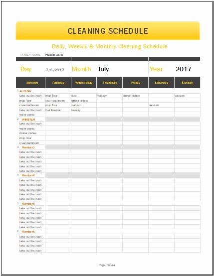 Daily Weekly & Monthly Cleaning Schedule Template for Ms