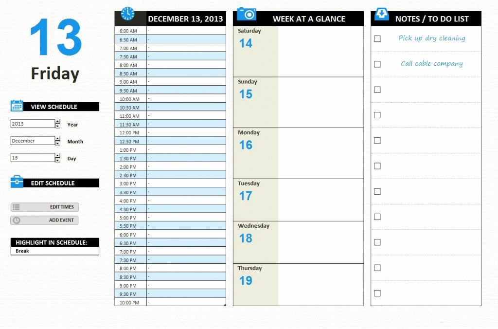 Daily Work Schedule Template Excel