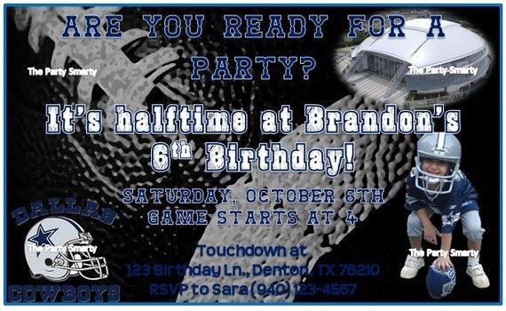 Dallas Cowboys Birthday Invitation by thepartysmarty On Etsy