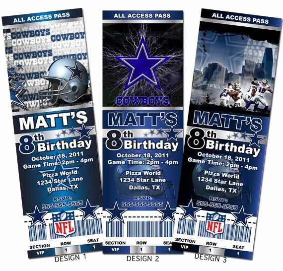 Dallas Cowboys Nfl Custom Party Ticket Invitations On Etsy