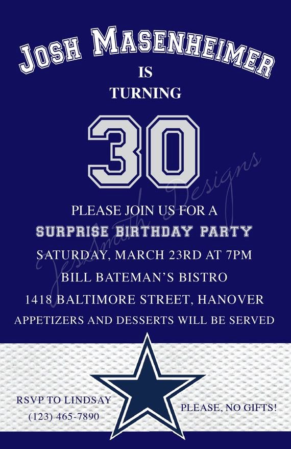 Dallas Cowboys themed Adult Birthday Invitations