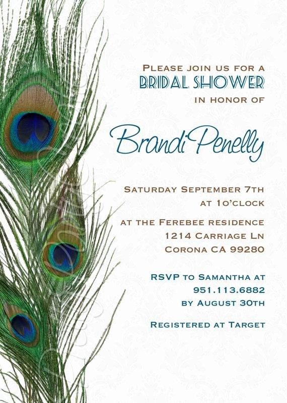 Damask Peacock Feathers Invitation Birthday Shower