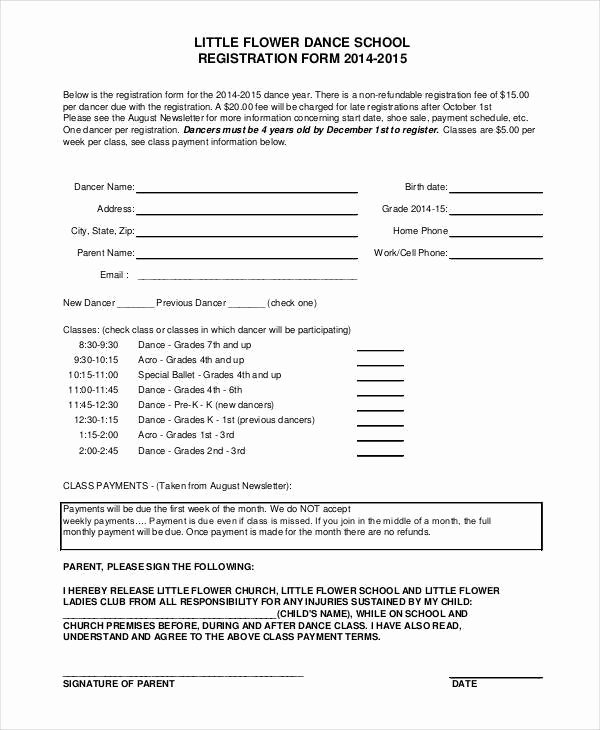 Dance Registration form Template Word Templates Resume