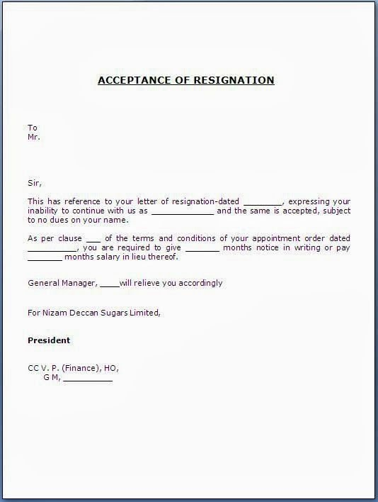 Dandy Acceptance Resignation Letter – Letter format Writing