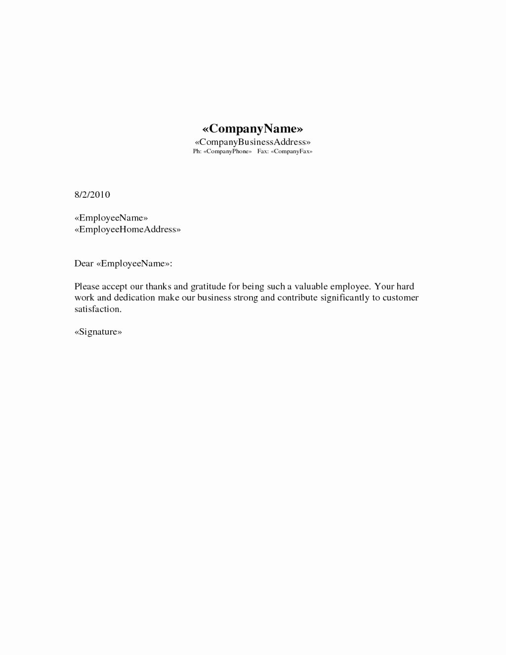 Dandy Employee Recognition Letter Sample – Letter format