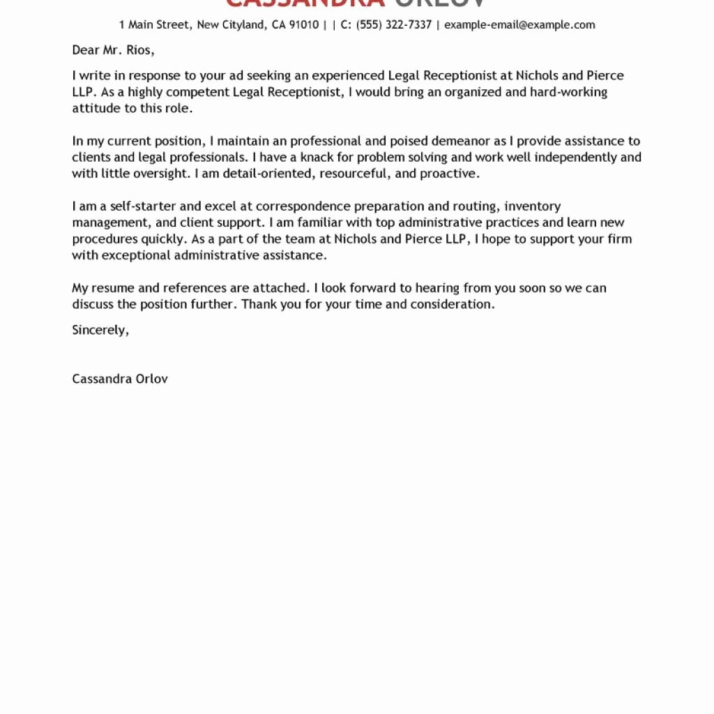 Dandy Sample Cover Letter for Receptionist – Letter format