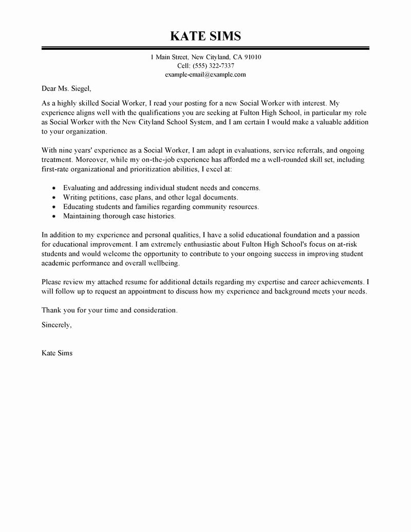 Dandy social Worker Cover Letter Sample – Letter format