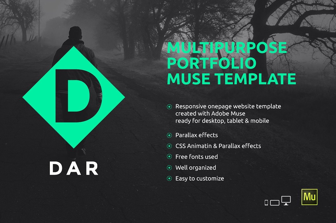Dar Responsive Adobe Muse Template Website Templates