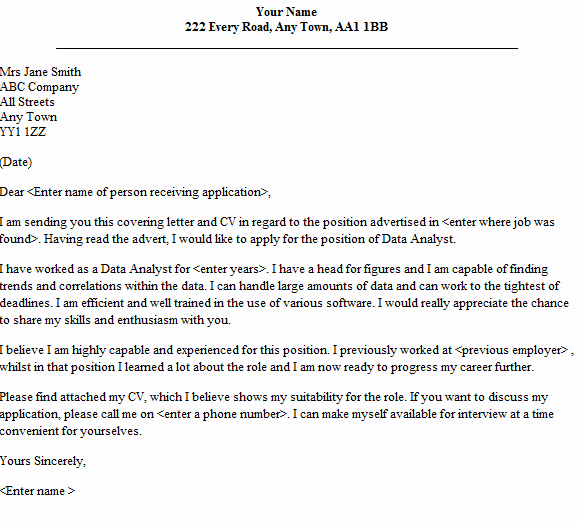 Data Analyst Cover Letter Sample Lettercv