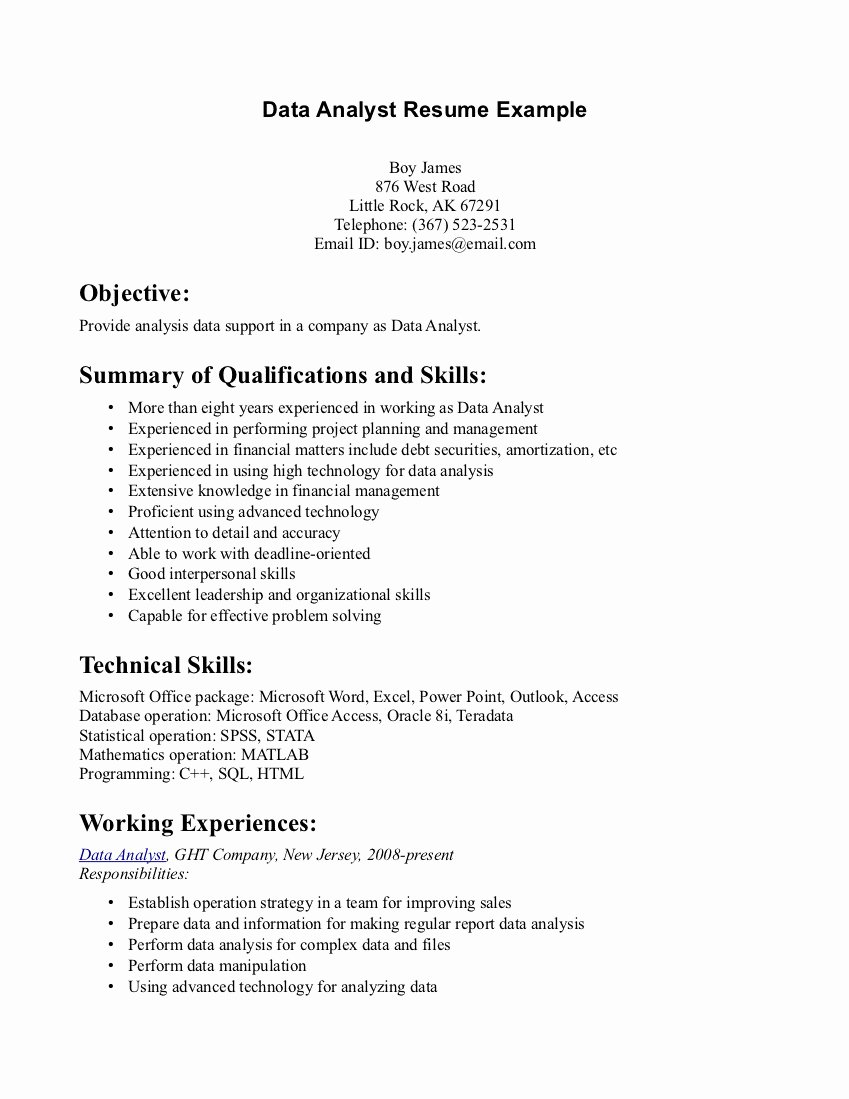 Data Analyst Skills Resume