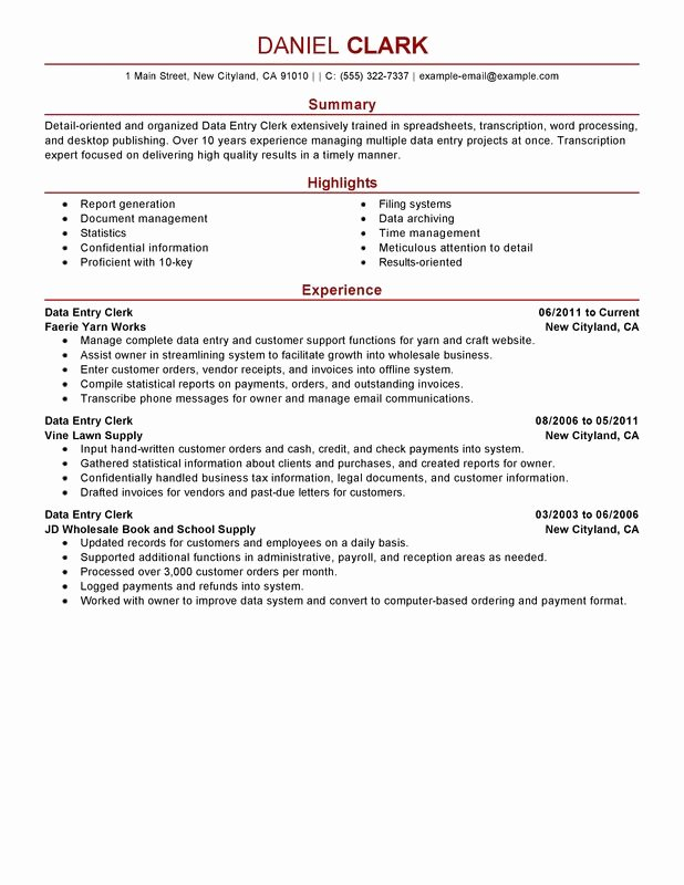 Data Entry Clerk Resume Examples – Free to Try today