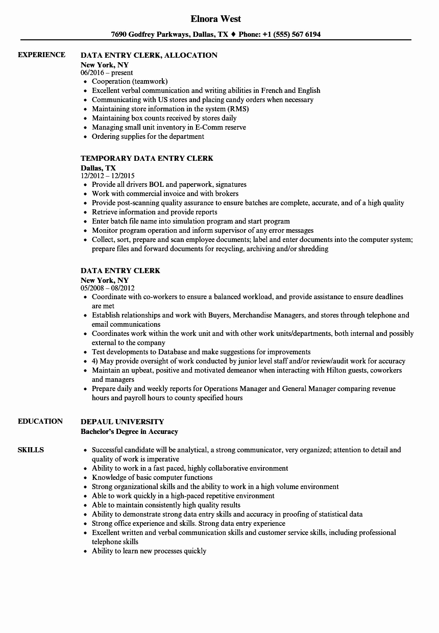 Data Entry Clerk Resume Samples