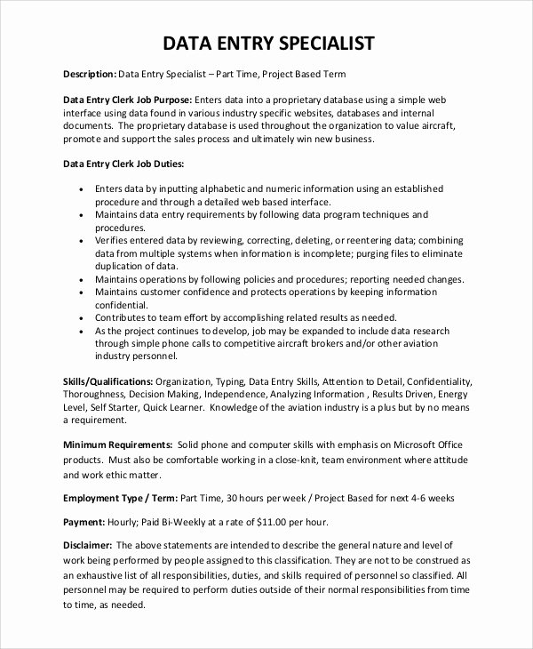 Data Entry Description for Resume Resume Ideas