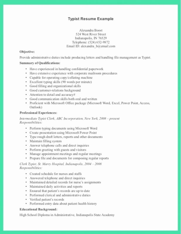 Data Entry Job Description for Resume