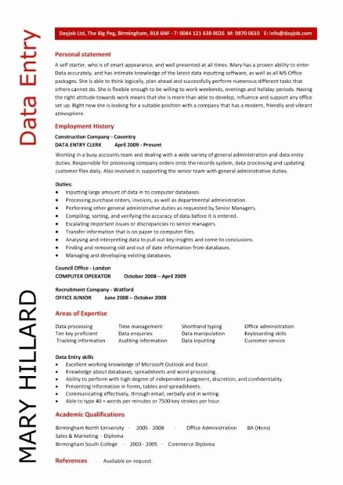 Data Entry Resume Sample