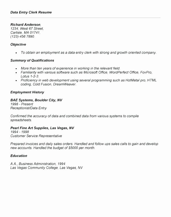 Data Entry Specialist Resume Nmdnconference