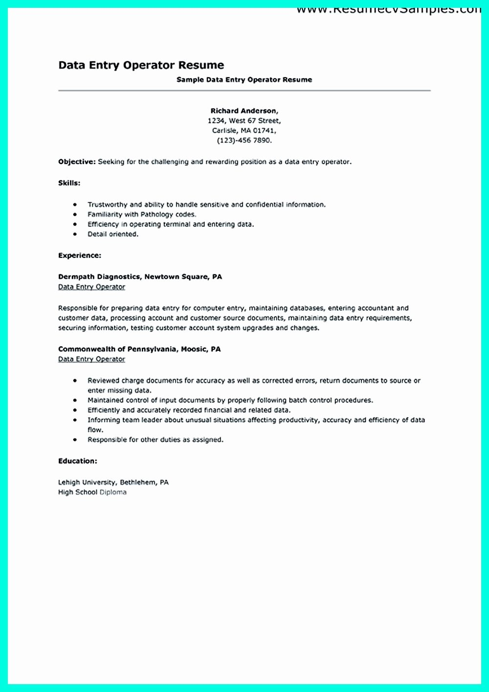Data Entry Specialist Resume Resume Ideas