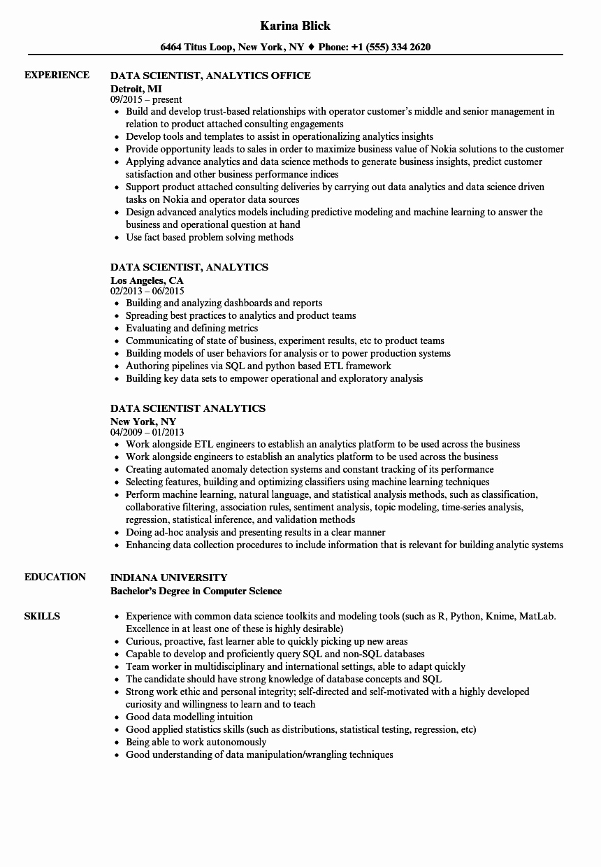 Data Scientist Analytics Resume Samples