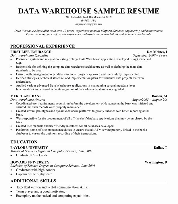 Data Warehouse Manager Resume for Free Resume Panion