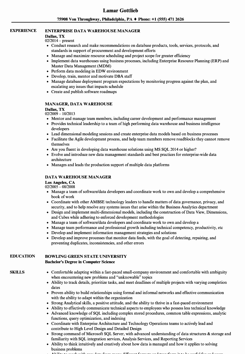 Data Warehouse Manager Resume Samples