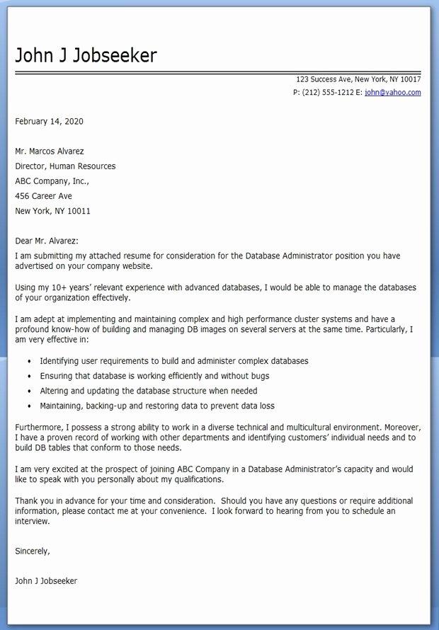 Database Administrator Cover Letter Sample