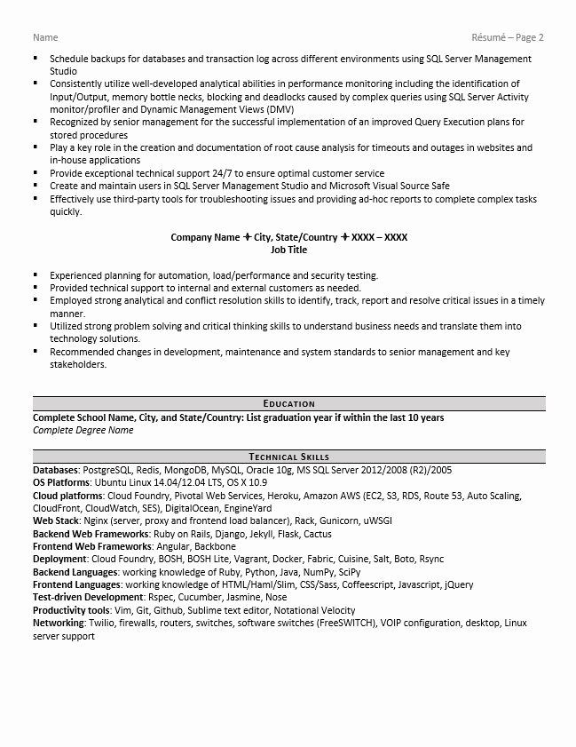 Database Administrator Resume Example and Tips Zipjob