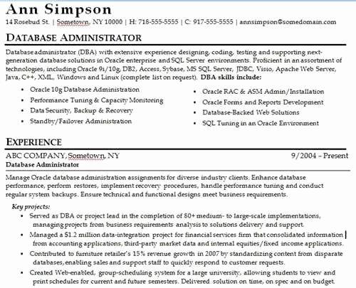 Database Management Resume