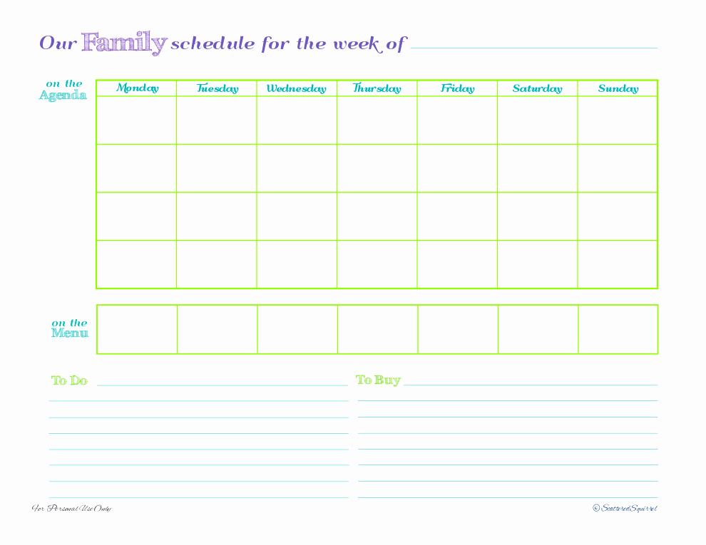 Day 5 Weekly Family Schedules Scattered Squirrel
